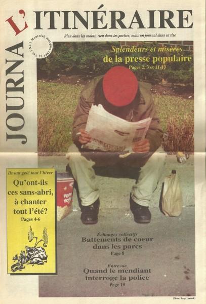 Journal L'Itinéraire, vol. 1, no 1, 1994. Groupe L'Itinéraire. François Thivierge entreprend un baccalauréat en travail social, dans le cadre duquel il fait un stage avec le groupe L'Itinéraire en 1992. Avec certains membres, il monte un projet de journal réalisé par des personnes itinérantes. Ce sont les balbutiements du journal L'Itinéraire. Le journal prend de l'ampleur en 1994 lorsque le premier numéro officiel est vendu sur la rue par des camelots.