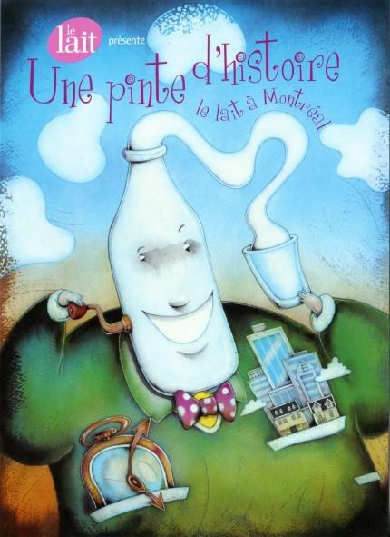 Exposition Une pinte d'histoire : le lait à Montréal, 2002. Illustration : Benoît Laverdière, Écomusée du fier monde