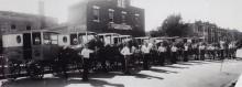 Milkmen of the Ferme St-Laurent, on the front of the factory, Garnier street, circa 1931. Montréal dairy heritage collection, Écomusée du fier monde