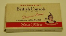 <b>Pack of British Consols long cigarettes, date unknown.</b> Macdonald Tobacco collection, Écomusée du fier monde