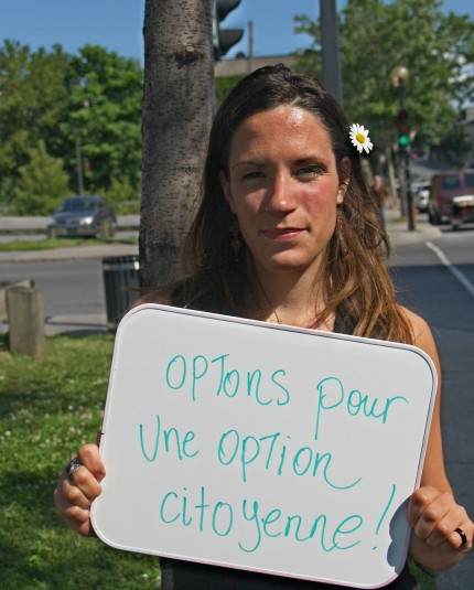 Une citoyenne s'exprime dans le volet Rêver le possible, 2009. Photo : Écomusée du fier monde