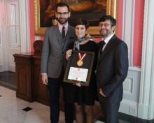 <b>Éric Pellerin, Maria Luisa Romano et René Binette, lors de la remise du prix Histoire vivante!, 2013.</b> Photo : Écomusée du fier monde