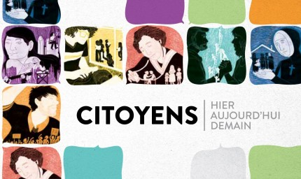 <b><i>Citoyens – Hier, aujourd'hui, demain</i> exhibition, 2012.</b> Illustrations: Jacquie Jeanes - Graphic design: Éric Pellerin, Écomusée du fier monde
