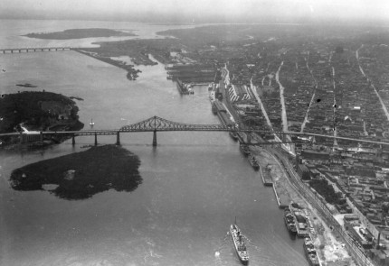 Bird's-eye view of the Sainte-Marie current, date unknown. City of Montreal Archives