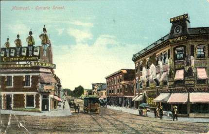 <b>Carte postale de la rue Ontario.</b> Collection Luc Charron