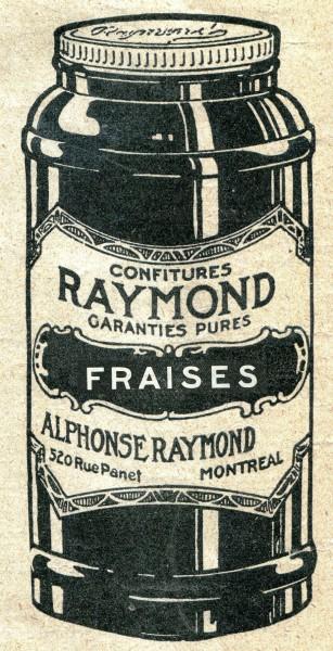 Raymond jam jar, taken from an ad, 1920. Revue moderne, Écomusée du fier monde