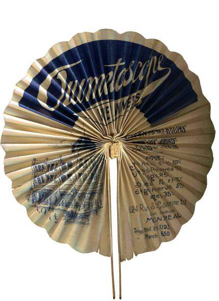 Ouimetoscope promotional paper fan, circa 1907. Écomusée du fier monde.
