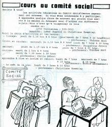 Page d'information sur les cours offerts au Comité social, vers 1975