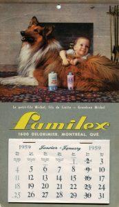 Calendrier Familex 1959, mettant en vedette Michel Parent, petit-fils du fondateur. Collection Parent, Écomusée du fier monde