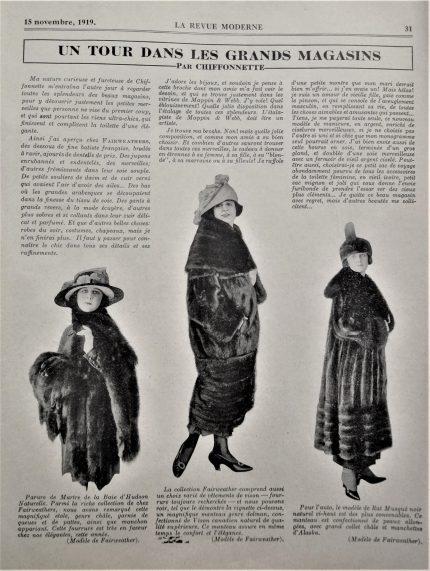 """Column """"Un tour dans les grands magasins"""" [A Tour Through Department Stores], by Chiffonnette, Revue Moderne, November 15, 1919.  Écomusée du fier monde."""