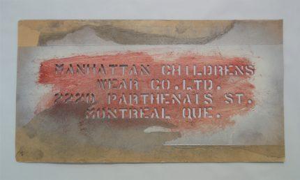 Manhattan Children's Wear Stencil.   Écomusée du fier monde.