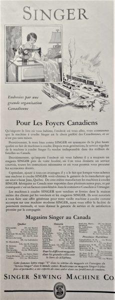 Singer Manufacturing Company advertisement, 1931. Écomusée du fier monde.